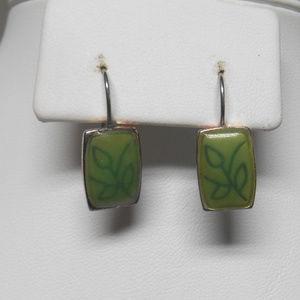 Silver & green tone pierced earrings
